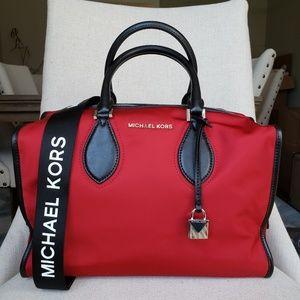 NWT Michael Kors LG Connie duffle Bag chili red MK